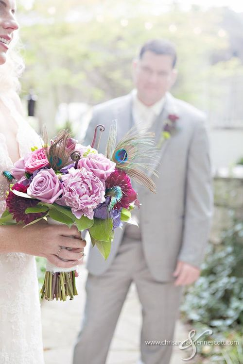 Steele smokey bouquet and groom